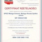 Certyfikat Rzetelności SPED Malaga Edward, Malaga Renata Spółka Jawna