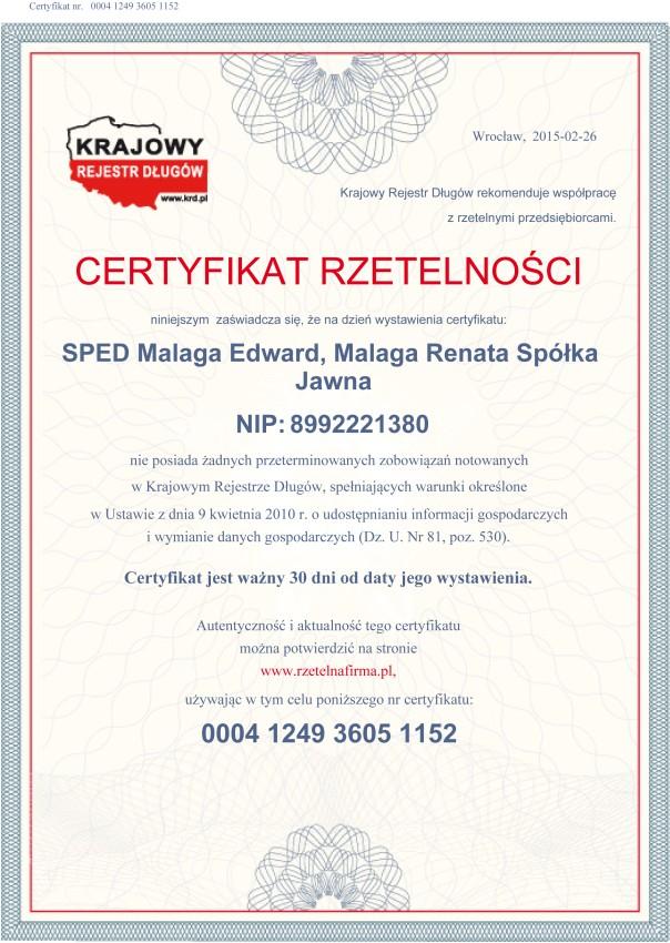 certyfikat-rzetelnosci-sped-2015